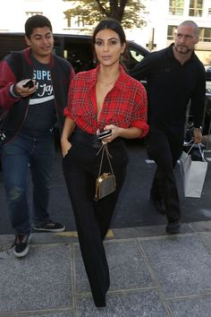 What do you think of Kim Kardashian in plaid? We think it's great.