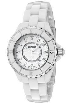 J12 Diamonds Unisex Watch from Chanel: White ceramic case with a white ceramic bracelet. Unidirectional rotating steel rimmed white ceramic bezel.