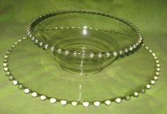 Imperial Candlewick Clear Glass Beaded Depression Glass Salad Bowl & Plate #Candlewick