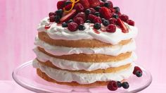Fresh berries are the delicious topper for luscious layers of cake and a filling of fluffy whipped topping and frosting.