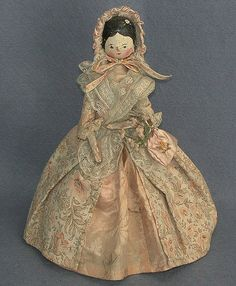 Peg wooden doll, woman, peach costume and bonnet, 1885-1910