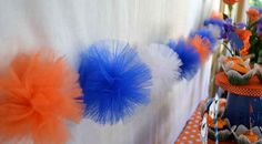 Tulle pom poms make a super easy team garland. 39 Clever Tailgating DIYs To Get You In The Spirit Cheer Banquet, Football Banquet, Football Tailgate, Tailgate Tent, Tailgate Parties, Picnic Parties, Auburn Football, Football Stuff, Football Season