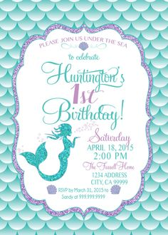 Mermaid Invitation Birthday Mermaid Party Invite Under the sea mermaid glitter by SLDESIGNTEAM on Etsy https://www.etsy.com/listing/224828611/mermaid-invitation-birthday-mermaid