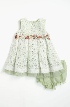 Pippa & Julie Lace Dress & Bloomers A garden of blossoms brightens the waist of a simply sweet gown with a charming lace overlay and matching bloomers. Little Dresses, Little Girl Dresses, Girls Dresses, Dresses Dresses, Dance Dresses, Short Dresses, Toddler Dress, Baby Dress, Infant Toddler