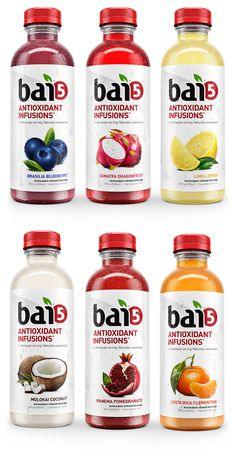 baì product lineup and promotional ImageryCreating baì's product line completely CGI, not only gave us full control over the lighting and setups,it allowed us to play and explore in a way that traditional photography wouldn't allow.AD: Kyle Boland, C… Water Packaging, Juice Packaging, Cool Packaging, Food Packaging Design, Beverage Packaging, Packaging Design Inspiration, Brand Packaging, Kombucha, Healthy Soda