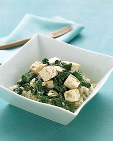 This recipe recalls the popular Indian dish saag paneer. Its use of tofu instead of paneer, and Indian cheese, makes it lighter and more convenient.