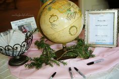 Wedding guest signin globe