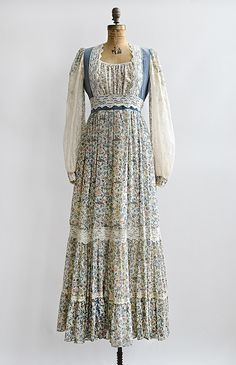 vintage 1970s gunne sax blue floral boho dress