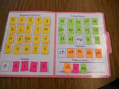 "Coolest file folders with sticky notes on the inside that have letters on them, and she has her kids use the sticky notes to make words. When they are done making a word, they just put the sticky note back in it's ""place"" on the file folder. So much better than letter tiles that end up getting lost, on the floor, inside desks, you get the idea. Whenever the sticky note loses it's sticky, you just quickly make a new one for whatever letter you need. I also color coded the sticky note letters…"