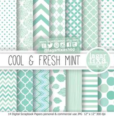https://www.etsy.com/mx/listing/185061571/fondos-papel-digital-menta-fresca-azul #mint #patterns #heartpattern #babyshower #fondos #invitaciones #boda #matrimonio #design