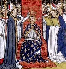 Sacre de Philippe III le Hardi XVesiècle-  Roi de France 25 aout 1270-5 oct 1285 (15 ans,1 mois,10 jours) couronnement 15 aout 1285  Préd Louis IX Succ Philippe IV. Né 1° mai 1245 à Poissy, mort 5 octobre 1285 (à 40 ans) à Perpignan. Père: Louis IX de France, mère: Marguerite de Provence. Conjoint: Isabelle d'Aragon (1262-1271) Marie de Brabant (1274-1285) Enfants: Louis de France, Philippe IV (roi), Robert de France, Charles de France, Louis de France, Marguerite de France, Blanche de…