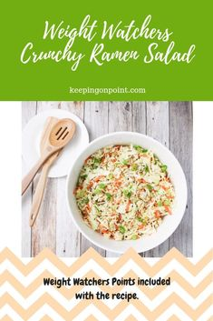 This Crunchy Ramen Salad is the perfect side dish! I eat it with grilled chicken all the time. It's also great for summer parties. Skinny Recipes, Ww Recipes, Low Calorie Recipes, Salad Recipes, Cooking Recipes, Healthy Recipes, Detox Recipes, Delicious Recipes, Amigurumi