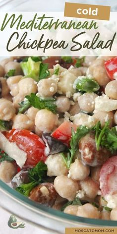 This Mediterranean Chickpea Salad is a delicious cold salad full of flavor and nutrients. Great make ahead salad that is great for potlucks and parties! Mediterranean Chickpea Salad, Mediterranean Diet Recipes, Summer Dishes, Summer Salads, Make Ahead Salads, Cooking Recipes, Healthy Recipes, Shrimp Salad, How To Make Salad