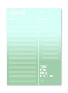 Desk pad / planner / mint / Studio Stationery