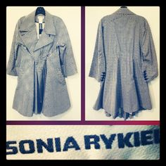 Sonia Rykiel 1,930.00 nipped-waist avant-garde polka dot swing trench coat sz. M; RR Price: 725.00;  http://resaleriches.mybisi.com/product/srikyeltrenchcoat