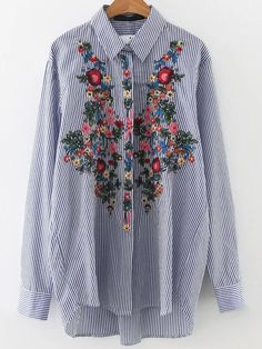 Blusa asimétrica a rayas con bordado floral - azul -Spanish SheIn(Sheinside)