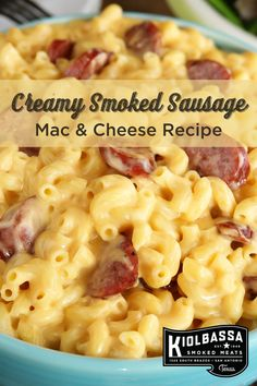 Here's an easy appetizer or side dish recipe for Easter, grilling season or just for those busy weeknights! This Creamy Smoked Sausage Mac & Cheese recipe makes this comfort food more delicious with a few links of Kiolbassa smoked sausage. Click below to make this tasty recipe! Smoked Mac N Cheese Recipe, Smoked Sausage And Potato Recipe, Smoke Sausage And Potatoes, Smoked Sausage Recipes, Bratwurst Recipes, Sausage Pasta Recipes, Mac Cheese, Appalachian Recipes, Smoked Sausages
