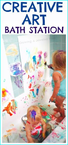 Any child's dream  Creative Art Bath Station- perfect for a rainy day. Allows little ones to explore freely and all mess is contained and easy to clean.