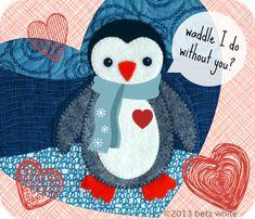 penguin quilt patterns | betz white: a little Valentine's Day fun