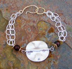 Multiple Chain Textured Sterling Center Bracelet
