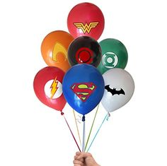 Justice League Superhero Emblem 21 Count Party Balloon Pack - Large Latex Balloons * Find out more about the great product at the image link. (This is an affiliate link) 6th Birthday Boys, Avengers Birthday, Batman Birthday, Superhero Birthday Party, 6th Birthday Parties, Birthday Diy, Birthday Party Decorations, Superhero Emblems, Superhero Balloons