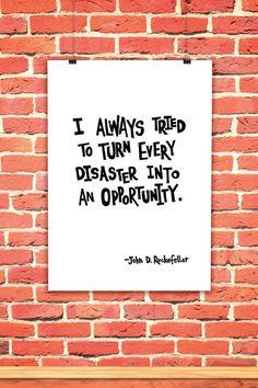 Rockefeller's Inspirational quote on Opportunity   I by OwlArtShop #integritytt #etsyspecialt