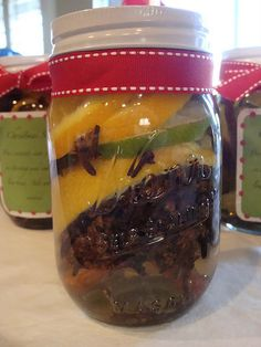 Christmas Potpourri in a jar. I did this today! SO GOOD! I didn't use bay leaf though... wanted the more citrus cinnamon/clove smell for Christmas ;o)