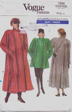 Vintage 80s Vogue Pattern 7024 Womens Dramatic by CloesCloset, $12.00