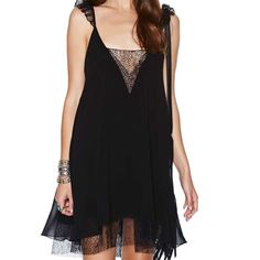 Nasty Gal Shifting Gears Dress Black shift dress with a deep V neckline at front and back with lace inserts and lace detailing at shoulder straps and hem. Silky lining, loose fit. Size XXS. Nasty Gal Dresses