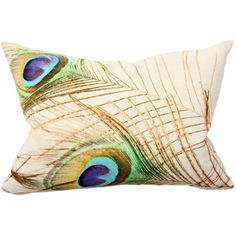 """Aha, Layla Grace has them, but I don't need 2. Peacock Feather Digital Print Pillow Pair    Peacock feathers in beautiful shades of blue, green and gold are stylishly screened on a white linen background. Sold as a pair, the down-filled pillows, Pillows each measure 14"""" x 20""""  100% linen cover with hidden zipper closure  Include 95/5 feather down inserts  Spot cleaning recommended"""