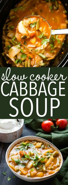This Slow Cooker Cabbage Soup is a healthy meal that's low in fat, carbs, & calories, and packed with vegetables! It's so easy to make in the Crock Pot! Recipe from thebusybaker.ca! #soup #healthy #weightloss #lowcarb #keto #diet #healthylifestyle #health #veggies #plantbased #vegetarian #vegan Crock Pot Cabbage, Cabbage Soup Recipes, Best Soup Recipes, Dinner Recipes, Healthy Recipes, Easy Cabbage Soup, Vegetarian Cabbage Soup, Healthy Soup, Vegetarian Meals