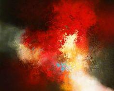 """Groot Abstract olieverfschilderij door kunstenaar Simon Kenny """"Pulse"""""""