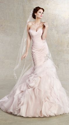 Check Out 30 Romantic Pastel Wedding Gowns. Pastel wedding dresses have been very popular recently, and many designers create pastel masterpieces for your big day and many celebrities choose such gowns to get married. 2nd Wedding Dresses, Pink Wedding Gowns, Wedding Dress Styles, Wedding Attire, Bridal Dresses, Gown Wedding, Wedding Blog, Wedding Ideas, Destination Wedding