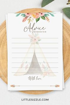 Girl Baby Shower Advice Cards for Mom To Be Printable Boho Floral Theme Baby Shower Advice by LittleSizzle. Create a meaningful keepsake for the mom to be with these girl baby shower advice cards with watercolor flowers and tipi. Let every guest write down their advice and collect the advice cards for the lucky mom-to-be. The cards are perfect for your boho theme baby shower. #bohobabyshower #girlbabyshoweradvicecards #adviceformomtobe #adviceformumtobe #printable #tribalbabyshowerideas #games Baby Shower Advice, Baby Shower Cards, Baby Shower Parties, Baby Shower Themes, Baby Shower Invitations, Shower Ideas, Tribal Baby Shower, Floral Baby Shower, Boho Theme