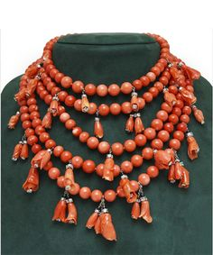 Coral & Diamond Necklace, c. 1932  Susan Belperron, French 1900-83 As an unrivalled colorist, the essence of Belperron's work was her ability to play with aesthetic influences from many sources and motifs inspired by nature. She was fascinated by the splendor of its shapes, colors and infinite variety.