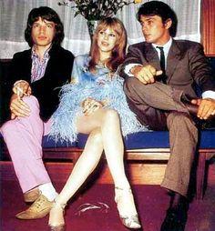 Mick Jagger, Marianne Faithful, Alain Delon