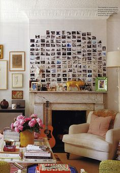 Photographic display of postcard sized prints or even mini canvases {postcards above the fireplace}