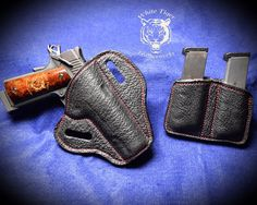Black shark with red thread holster for a 5 inch 1911 with matching dual mag pouch