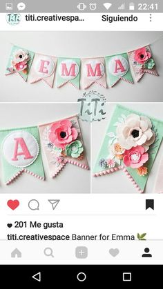 Personalized felt baby pennant banner name Custom Boho decor Bohemian Nursery Mint and pink Flags banner Pennant Banner Felt flowers Pennant Banners, Name Banners, Felt Crafts, Diy And Crafts, Paper Crafts, Fabric Crafts, Felt Christmas, Christmas Projects, Baby Dekor