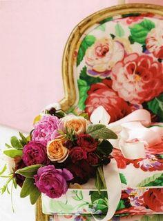 LOVE the peach, pink, scarlet combo - dorothy draper inspired on the Merriment blog via Elegant Bride Magazine