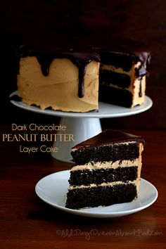 Chocolate Peanut Butter Layer Cake - dark chocolate layers with creamy peanut butter frosting and chocolate ganache.