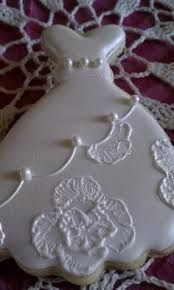 wedding dress and double heart cookies - Google Search