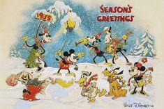 Disney Christmas Cards, Christmas Scenes, Vintage Christmas Cards, Retro Christmas, Christmas Art, Disney Holidays, Disney Cards, Mickey Christmas, Xmas