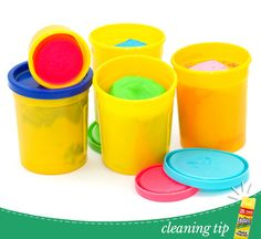 Play Dough Clean Up: 1. Pick up any large pieces from the floor.  2. Let the smaller pieces that are stuck to the carpet dry for at least 2 hours.  3. Once dried, we recommend using a plastic knife or credit card to loosen the remaining bits.  4. Using a broom, vacuum or cloth, sweep up the debris.  5. If any stains are left behind, try blotting some rubbing alcohol or a combination of cold water and dish soap.