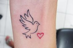 Dove And Tiny Heart Tattoo Design | Tattoobite.com