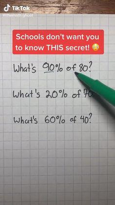 Cool Math Tricks, Maths Tricks, Math Hacks, Math Tips, High School Life, Life Hacks For School, School Study Tips, Math For Kids, Fun Math