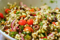 Mediterranean eggplant and barley salad... this dish is amazing!!