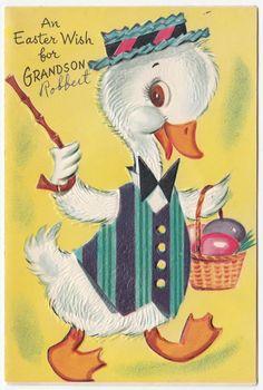 Vintage Greeting Card Easter Cute Duck Egg Basket J903   eBay
