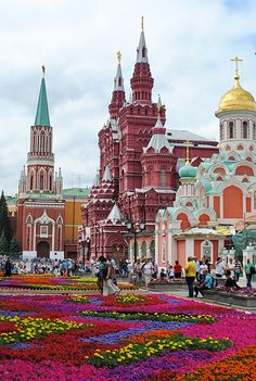 Flowers on the Red Square in Moscow, Russia, 2014.
