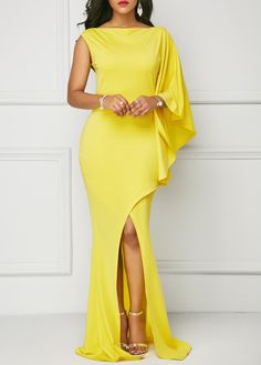 One Sleeve Front Slit Yellow Maxi Dress on sale only US$36.32 now, buy cheap One Sleeve Front Slit Yellow Maxi Dress at liligal.com